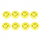 KAMEI KM-803-8 Round Shape Smile Face Refrigerator White Board Magnet - Yellow + Black (8 PCS)