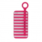 Fashion Hollowed-Out Ladder Style Protective PC Back Case w/ Holder for Iphone 4 / 4S - Deep Pink