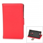 Protective PU Leather + Plastic Flip-Open Case w/ Car Holder / Magnetic Snap for Nokia 925 - Red
