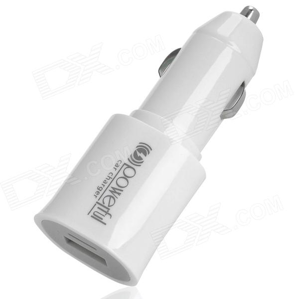 USB Car Cigarette Power Adapter Charger for Iphone / Samsung i9500 - White (DC 12~24V)