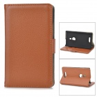 Stylish Flip-Open PU Leather + PC Stand Case w/ Card Slots for Nokia 925 - Brown