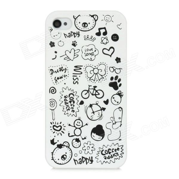 Cartoon Pattern Matte Protective ABS Back Case for Iphone 4 / 4S - White 3d cartoon cat kisses fish pattern protective abs back case for iphone 6 plus white green