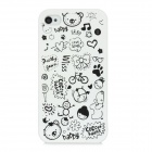 Cartoon Pattern Matte Protective ABS Back Case for Iphone 4 / 4S - White