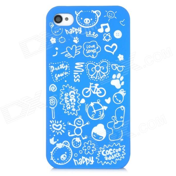 все цены на Cartoon Pattern Matte Protective ABS Back Case for Iphone 4 / 4S - Blue