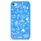 Cartoon Pattern Matte Protective ABS Back Case for Iphone 4 / 4S - Blue