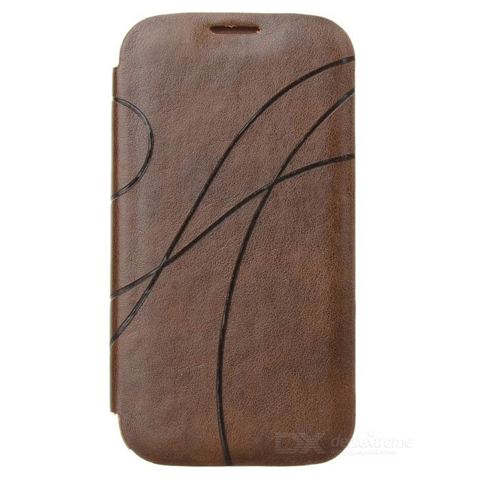 Protective PU Leather Flip-Open Case for Samsung Galaxy S4 i9500 - Brown protective flip open pu leather case for samsung galaxy s4 i9500 white