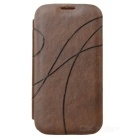 Protective PU Leather Flip-Open Case for Samsung Galaxy S4 i9500 - Brown