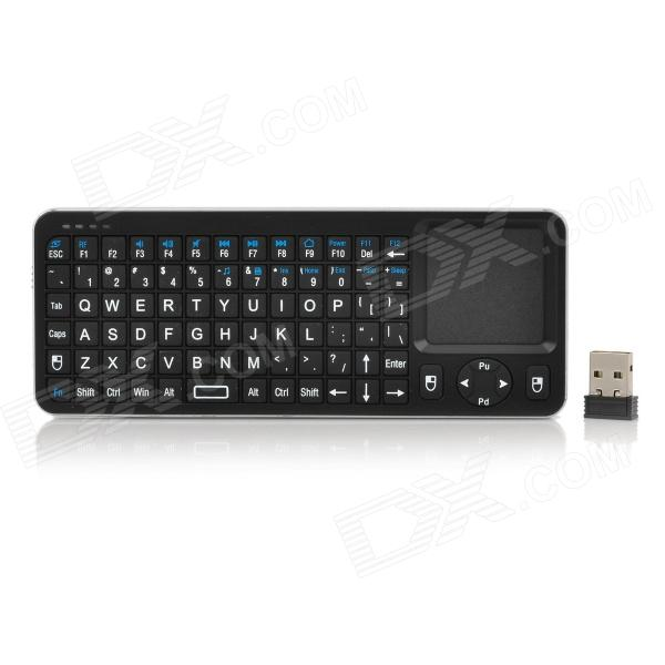 2.4GHz Wireless Mini Touchpad Air Mouse Keyboard - Black + Silver Grey 2017 new elecom 2 4g mini mouse vwith charging for home office general balls the mouse girl