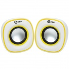 Wujixian 3105 Universal Mini Portable USB Powered Stereo Speaker w/ 3.5mm - White + Yellow (2 PCS)