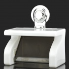 JZ-1 Concise Waterproof Toilet Paper Holder w/ Suction Cup - White + Translucent Grey
