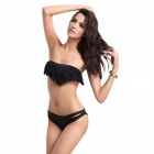 Sexy Summer Latest Fringed Women's Bandeau Bikini Set - Black (Size-L)