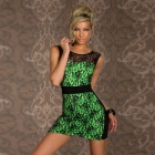 LC2806-1 Stylish Sexy Lace High Waist Dress for Women- Green + Black (Size-L)