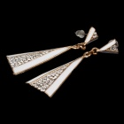 Shiny Pyramid Style Rhinestone + Albronze Fashionable Women's Earrings - Golden + White (Pair)