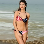 LC40612 Women's Sexy Twist Bandeau Stripes + Stars Bikini Swimsuit - Multicolored (Size-L)