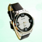 Double-Layer Steel Alloy Dial Quartz Analog Watch for Men - Silver + Black + White (1 x SR626SW)