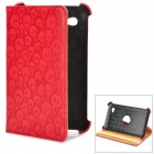 Skull Pattern Rotary PU Leather Case w/ Stand for Samsung Galaxy Tab P3100 - Red + Black + Beige