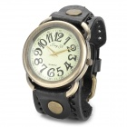 JINGYI Belt Style PU Band Analog Quartz  Wrist Watch for Men - Black + Bronze