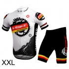 INBIKE Bicycle Cycling Short Sleeves Jersey + Bib Shorts Set - White + Black (Size-XXL)