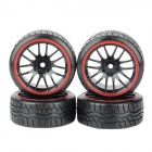 1 / 10 Drift Soft Tyre Tires with Wheel Hub - Black + Red (4 PCS)