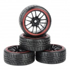 1 / 10 Drift Tyre Tires with Wheel Hub - Black + Red (4 PCS)