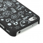 Cartoon Pattern Matte Protective ABS Back Case for Iphone 4 / 4S - Black