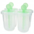 ZhenXing 4-Cup Ice Pop Making Molds w/ Sticks - Translucent White + Green