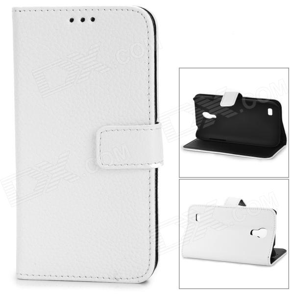 Stylish Flip-Open PU + PC Stand Case w/ Card Slots for Samsung i9190 / Galaxy S4 Mini - White protective flip open pu case w stand card slots for samsung galaxy s3 mini i8190