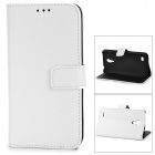 Stylish Flip-Open PU + PC Stand Case w/ Card Slots for Samsung i9190 / Galaxy S4 Mini - White