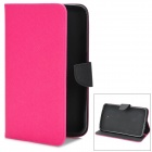 Twill Pattern Protective PU + TPU Case w/ Stand / Card Slots for Samsung P3200 - Deep Pink + Black