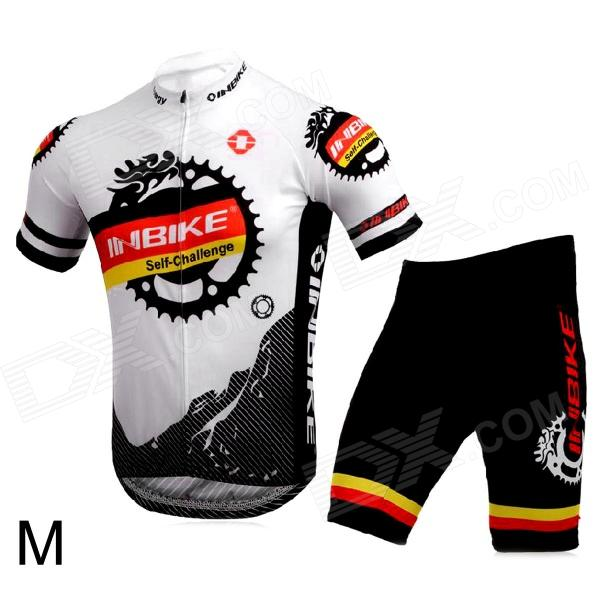 INBIKE Bicycle Cycling Short Sleeves Jersey + Bib Shorts Set - White + Black (Size-M) rusuoo k01007 bicycle cycling jersey bib shorts set white black size xxl 180 185cm