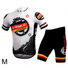 INBIKE Bicycle Cycling Short Sleeves Jersey + Shorts Set - White + Black (Size-M)