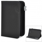 Fish Scale Pattern Protective PU + Plastic Case w/ Stand / Card Slots for Samsung N5100 - Black