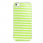 Stripe Pattern Protective Plastic Back Case for Iphone 5 - Green + Silver