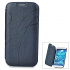 Embossed Protective PU leather + PC Flip-Open Case for Samsung Galaxy S4 / i9500 - Dark Blue