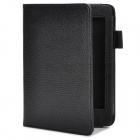 Lychee Pattern Protective PU Flip-open Case for Amazon Kindle 5 - Black