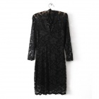 V Neck Sexy Slimming Lace Dress - Black