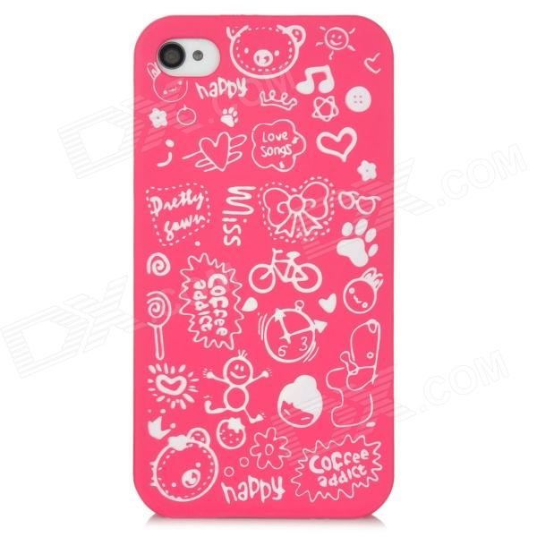 Cartoon Pattern Matte Protective ABS Back Case for Iphone 4 / 4S - Deep Pink stylish 3d eagle pattern protective abs pc back case for iphone 4 4s multicolored