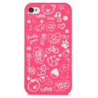 Cartoon Pattern Matte Protective ABS Back Case for Iphone 4 / 4S - Deep Pink