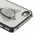 3D Butterfly / Eyeglasses Pattern Protective Plastic Back Case for Iphone 4 / 4S - Silver + Grey