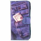 Stylish Jeans Pattern Protective Flip-open PU Leather Case for Iphone 5 - Blue + Black