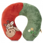 HJ1309 Giraffe Pattern U-Shape Neck Protection Pillow - Red + Green