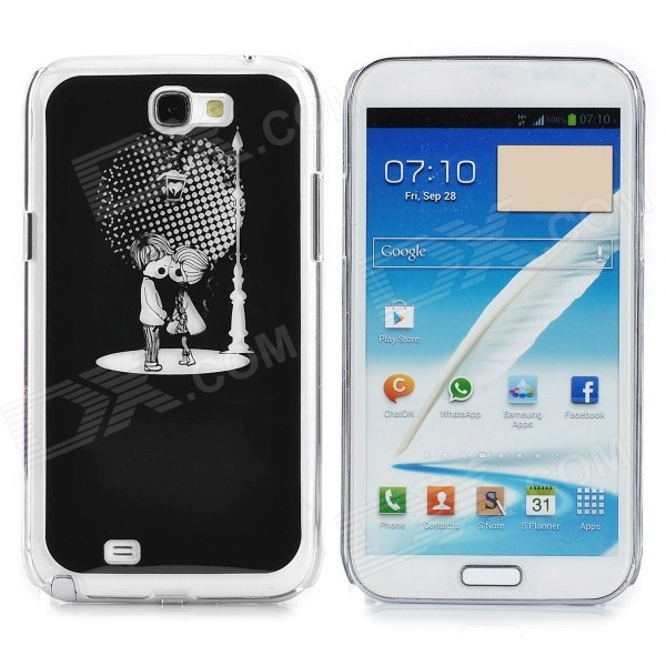 Cute Little Lover Pattern Aluminum Alloy + PC LED Flashing Back Case for Samsung N7100 (1 x CR2016) - DXPlastic Cases<br>Brand N/A Quantity 1 Piece Color Black Material Aluminum alloy + plastic Compatible Models Samsung Galaxy Note 2 / N7100 Other Features Fashion and unique design with colorful light flash when call incoming or when you dialing call. Powered by 1 x CR2016. Protects your device from scratches dust and shock. Packing List 1 x Case 1 x CR2016 battery<br>