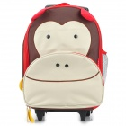 SUN-RISING Cute Cartoon Monkey Multi-Function Backpack Trolley Schoolbag with Wheels - Multicolored