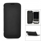 Portable 3800mAh External Battery PU Leather Flip-Open Case w/ Stand for Samsung i9500 - Black