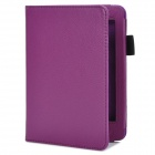 Lychee Pattern Protective PU Flip-open Case for Amazon Kindle 5 - Purple
