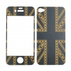 UK National Flag Protective Goldprint Front + Back Stickers Set for Iphone 4 / 4S - Golden + Black