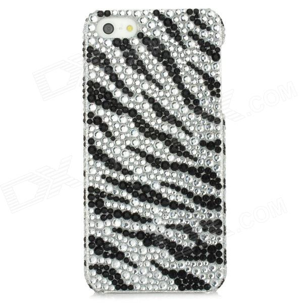 Zebra Pattern Protective PVC Back Case w/ Rhinestones for Iphone 5 - Black + White protective soft pvc back case for htc sensation xl x315e g21 black