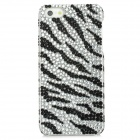 Zebra Pattern Protective PVC Back Case w/ Rhinestones for Iphone 5 - Black + White