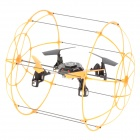 Six-Axis Quad-Wing 4-CH 2.4GHz Radio Controlled R/C Rolling Aircraft w/ Gyro / Outer Frame - Orange