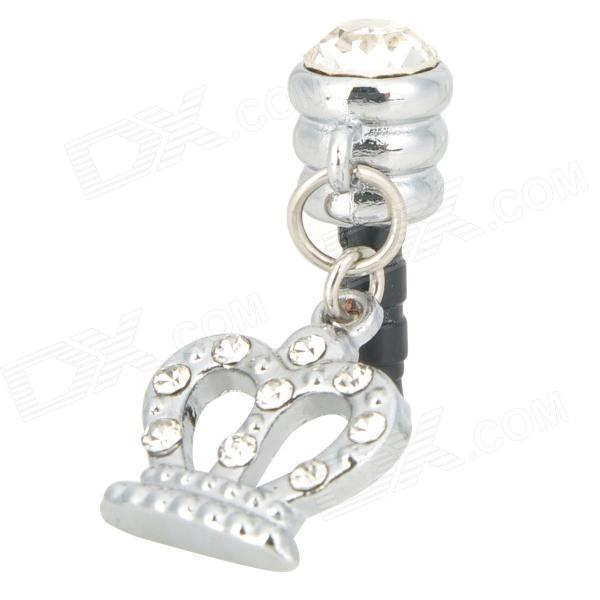Stylish Crown Style Rhinestone Audio Jack Anti-Dust Plug for Iphone 4 / 4S - Silver (3.5MM Plug)
